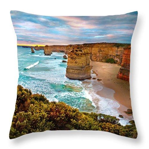 12 Apostles Throw Pillow featuring the photograph The Apostles Sunset by Az Jackson