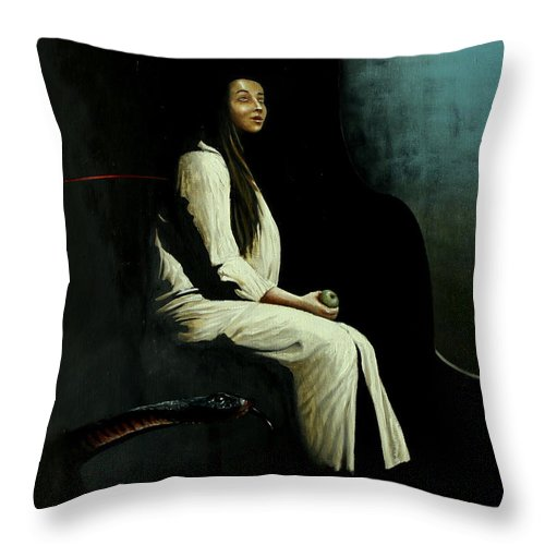 Apple Throw Pillow featuring the painting The Apple by Szabo Gyula