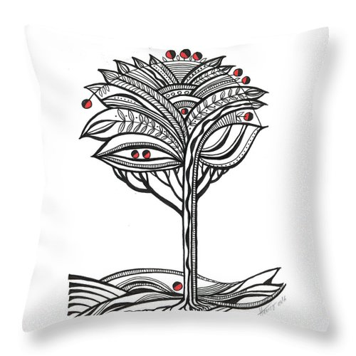 Abstract Throw Pillow featuring the drawing The Apple Tree by Aniko Hencz