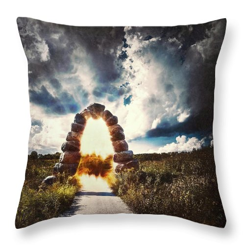 Stone Arch Throw Pillow featuring the photograph The Arch On The Edge Of Forever by Scott Norris