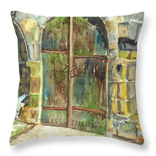 Monastery Throw Pillow featuring the painting The Archways Of Bandouille 12th Century Monastery Sevres France by Carol Wisniewski