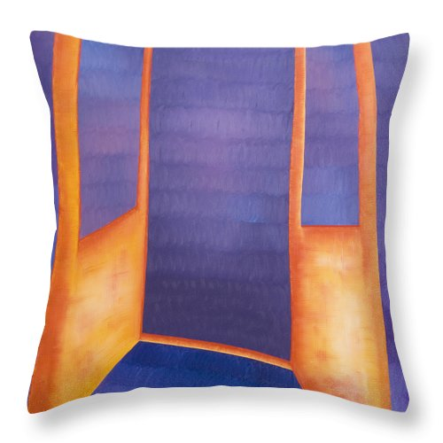 Death Throw Pillow featuring the painting The Arrival by Judy Henninger