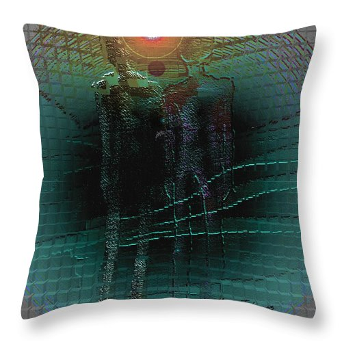 People Alien Arrival Visitors Throw Pillow featuring the digital art The Arrival by Veronica Jackson
