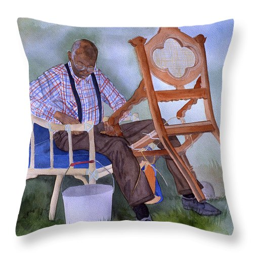 Portrait Throw Pillow featuring the painting The Art Of Caning by Jean Blackmer