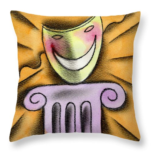 Acting Advertisement Advertising Amusement Bluffing Camouflage Color Colour Column Comedy Concealing Delighted Disguise Displaying Dramatic Eagerness Entertainment Enthusiasm Excitement Exhibiting Funny Graphic Design Happy Hiding Humor Idealism Illustration Mask Melodrama Optimism Orange Performing Performing Arts Pillar Pretending Reading Recreation Smiling Square Theatrical Throw Pillow featuring the painting The Art Of Smiling by Leon Zernitsky