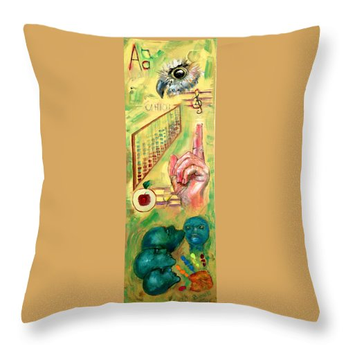 Teacher Teach Learn Owls Trust Teach Children Students Apples Abacus Music Souls Throw Pillow featuring the painting The Art Of Teaching by Peter Bonk