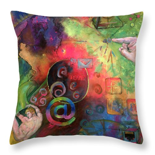 Internet Throw Pillow featuring the painting The Art Of The Net by Peter Bonk