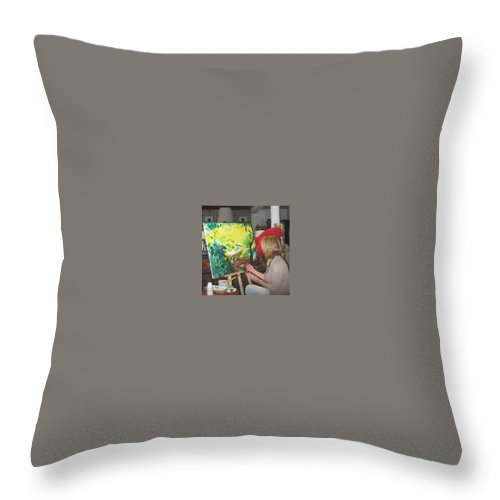 Artist. Lizzy Forrester. Ibiza. Spain. Sunlight. Bright & Colourful. Throw Pillow featuring the painting The Artist At Work. by Lizzy Forrester