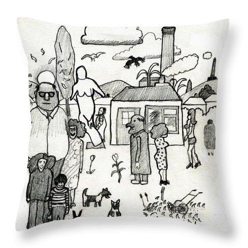 Artist Throw Pillow featuring the digital art The Artist In Search Of Inspiration by Andy Mercer