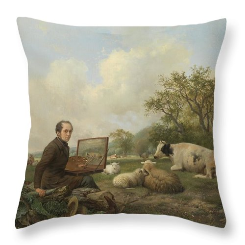 Agriculture Throw Pillow featuring the painting The Artist Painting A Cow In A Meadow, 1850 by Hendrikus Van De Sande Bakhuyzen