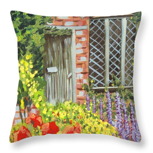 Windows Throw Pillow featuring the painting The Artist's Cottage by Laurie Morgan