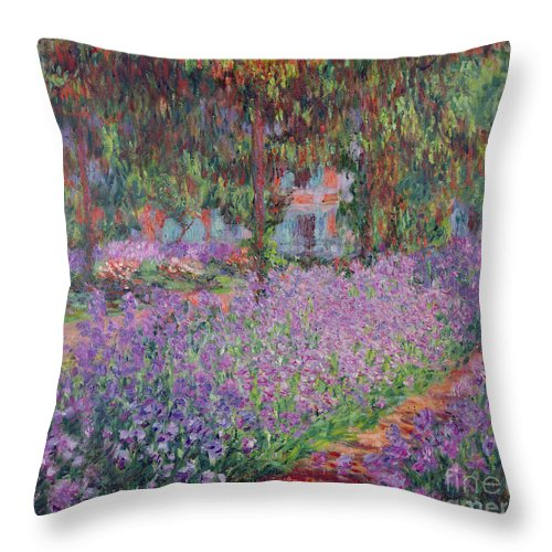 The Throw Pillow featuring the painting The Artists Garden At Giverny by Claude Monet