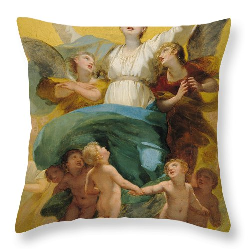 The Throw Pillow featuring the painting The Assumption Of The Virgin by Pierre Paul Prudhon