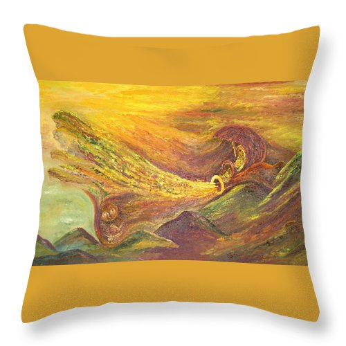 Autumn Throw Pillow featuring the painting The Autumn Music Wind by Karina Ishkhanova