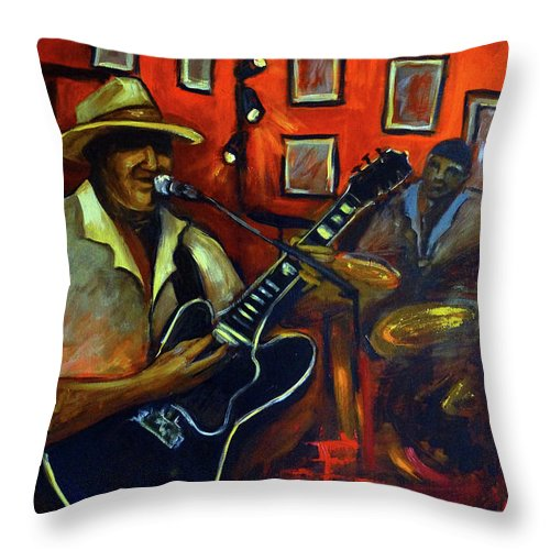Blues Throw Pillow featuring the painting The Back Room by Valerie Vescovi