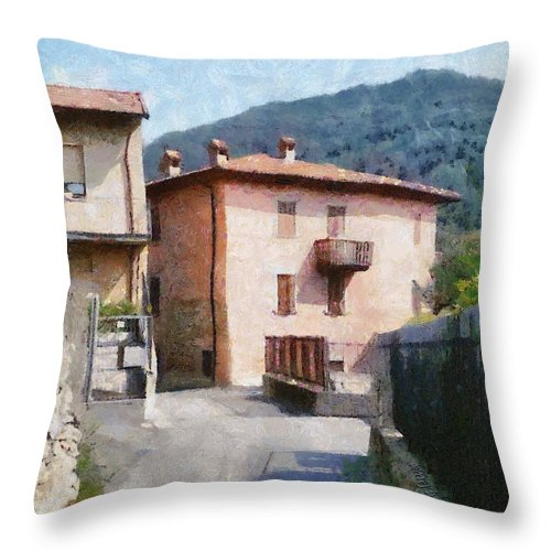 Alps Throw Pillow featuring the painting The Back Street Towards Home by Jeffrey Kolker