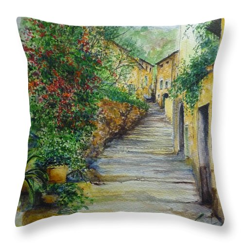 Original Paintings Of Mallorca Throw Pillow featuring the painting The Balearics Typical Spain by Lizzy Forrester