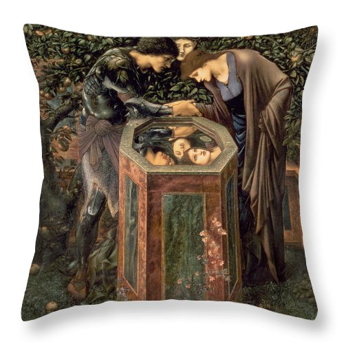 The Throw Pillow featuring the painting The Baleful Head by Sir Edward Burne-Jones