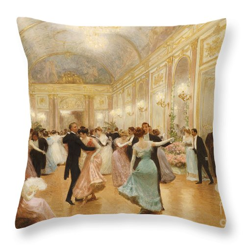 Ball Throw Pillow featuring the painting The Ball by Victor Gabriel Gilbert