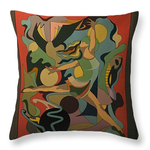 Abstract Throw Pillow featuring the painting The Ballet Dancer by Vasilis Bottas