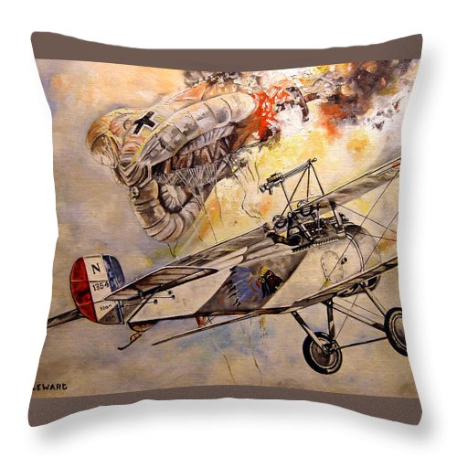 Military Throw Pillow featuring the painting The Balloon Buster by Marc Stewart
