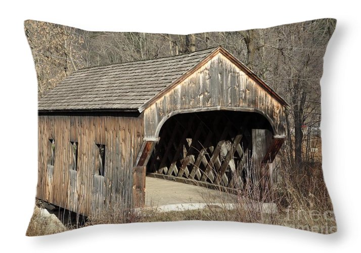 Environment Throw Pillow featuring the photograph The Baltimore Covered Bridge - Springfield Vermont Usa by Erin Paul Donovan
