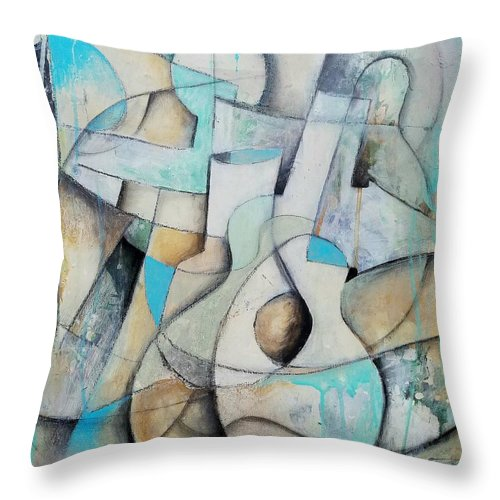 Original Contemporary Abstract Cubism Painting Throw Pillow featuring the painting The Band by John Oz