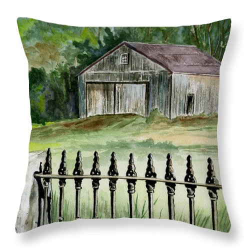 Landscape Throw Pillow featuring the painting The Barn At Parsonsfield Maine by Brenda Owen