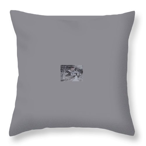 Watercolor Landscape Painting Barn Pen And Ink Painting Drawing Throw Pillow featuring the painting The Barn Country Pen And Ink Drawing by Derek Mccrea