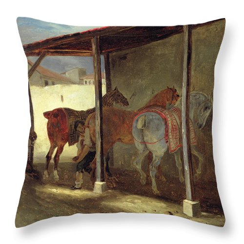 The Throw Pillow featuring the painting The Barn Of Marechal-ferrant by Theodore Gericault