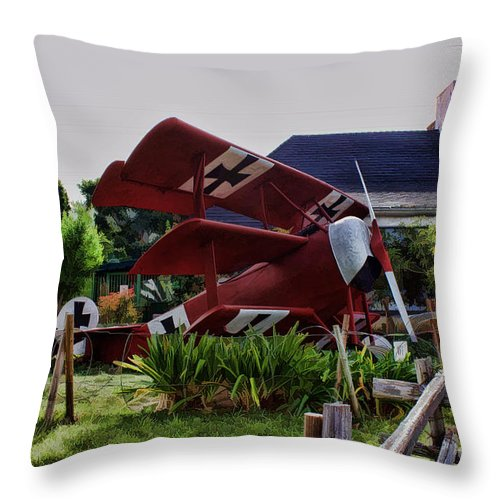 Ww 1 Throw Pillow featuring the digital art The Baron by Tommy Anderson