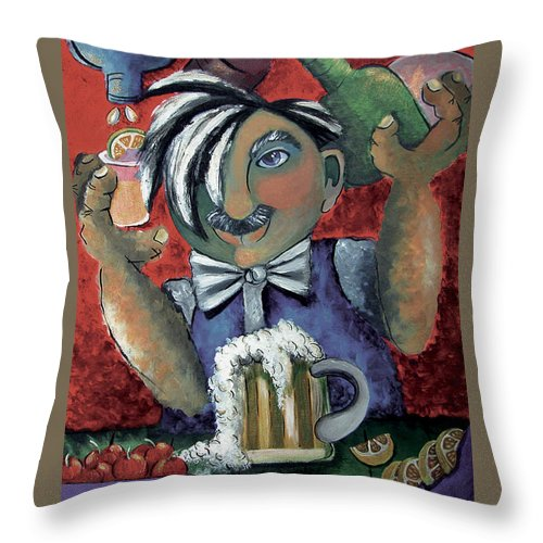 Bartender Throw Pillow featuring the painting The Bartender by Elizabeth Lisy Figueroa
