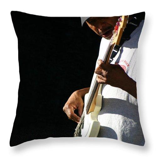 Guitar Throw Pillow featuring the photograph The Bassman by Joe Kozlowski