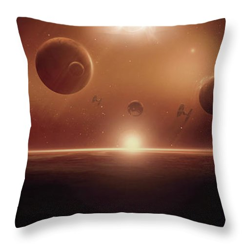 Spacescape Throw Pillow featuring the digital art The Battle Continues by Susan Gerardi
