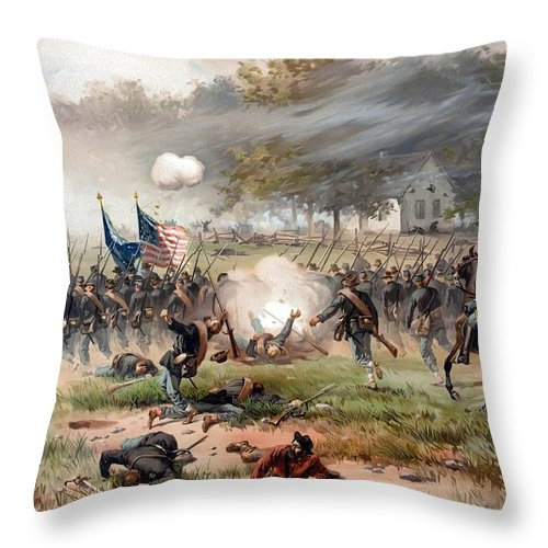 Civil War Throw Pillow featuring the painting The Battle Of Antietam by War Is Hell Store