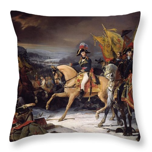 The Throw Pillow featuring the painting The Battle Of Hohenlinden by Henri Frederic Schopin