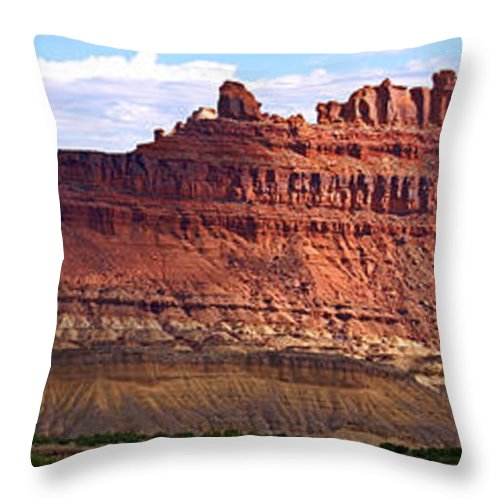 Landscape Utah Throw Pillow featuring the photograph The Battleship Utah by Heather Coen