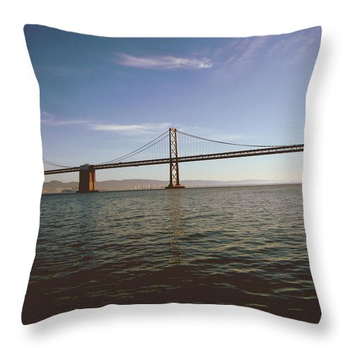 The Bay Bridge Throw Pillow featuring the mixed media The Bay Bridge- By Linda Woods by Linda Woods