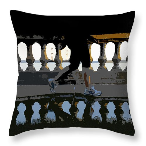 Bayshore Boulevard Throw Pillow featuring the painting The Bayshore Runner by David Lee Thompson