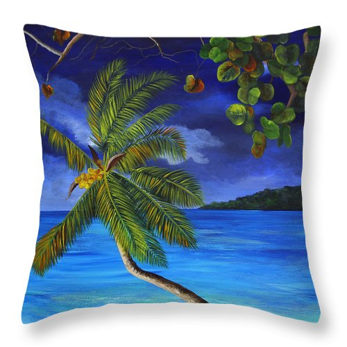 Beach Throw Pillow featuring the painting The Beach At Night by Dominica Alcantara