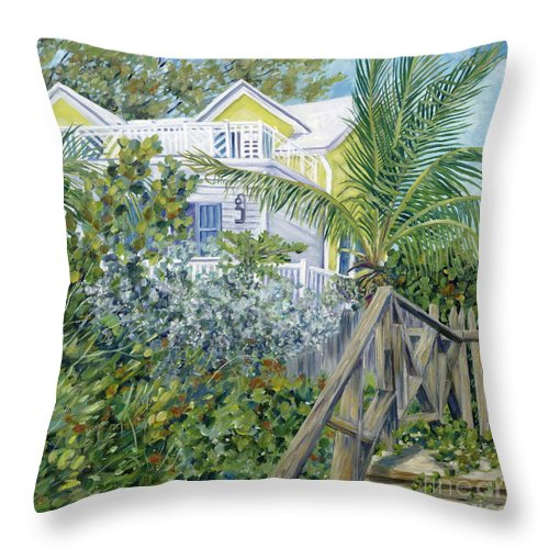 Beach House Throw Pillow featuring the painting The Beach House by Danielle Perry