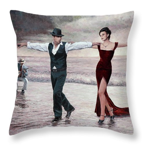 Music Throw Pillow featuring the painting The Beach Quartet, Lady In Red by Theo Michael