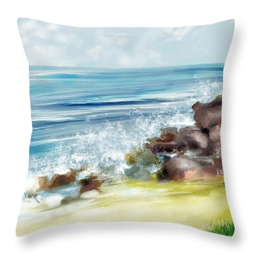 Beach Ocean Water Summer Waves Splash Throw Pillow featuring the digital art The Beach by Veronica Jackson