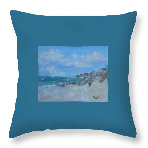 Boat Throw Pillow featuring the painting The Beached Boat by Judith Rhue