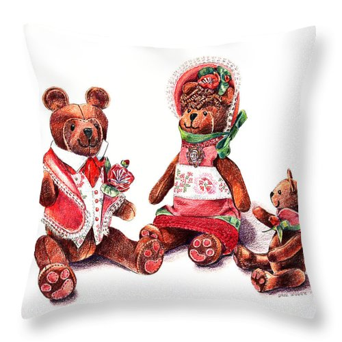 Teddy Bear Throw Pillow featuring the drawing The Bear Family by Arline Wagner