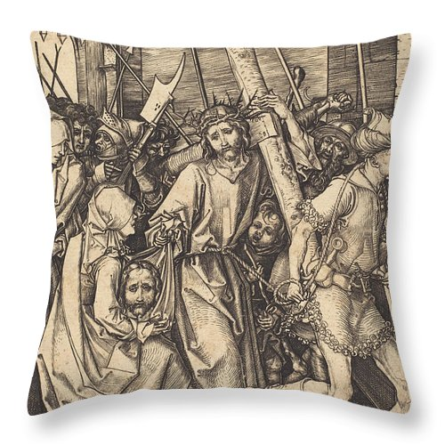Throw Pillow featuring the drawing The Bearing Of The Cross With Saint Veronica by Martin Schongauer