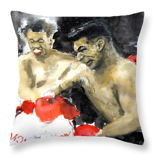 Boxers Throw Pillow featuring the painting The Beast In The Ring by Leonardo Ruggieri