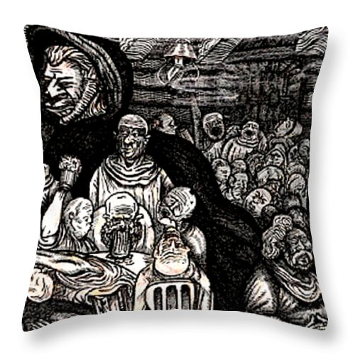 Meeting Throw Pillow featuring the drawing The Beast Leaves The Red Legged Hen by Al Goldfarb