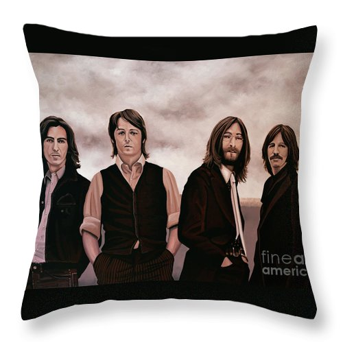 The Beatles Throw Pillow featuring the painting The Beatles 3 by Paul Meijering
