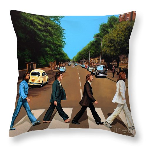 The Beatles Throw Pillow featuring the painting The Beatles Abbey Road by Paul Meijering